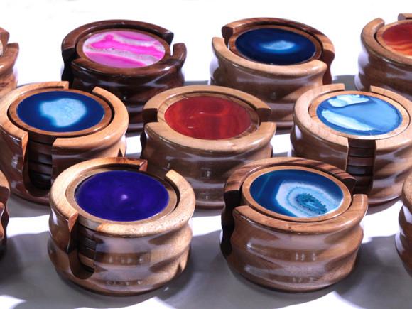 #59 Porta copos de ágata com madeira - 6 peças