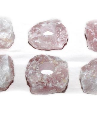 #19a porta vela de quartzo rosa em bruto
